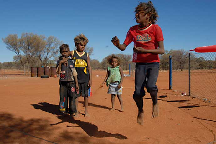 Children playing at a homeland settlement near Alice Springs