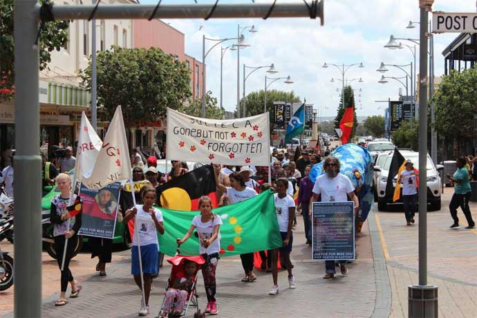 Over 150 protesters attended a march through Geraldton