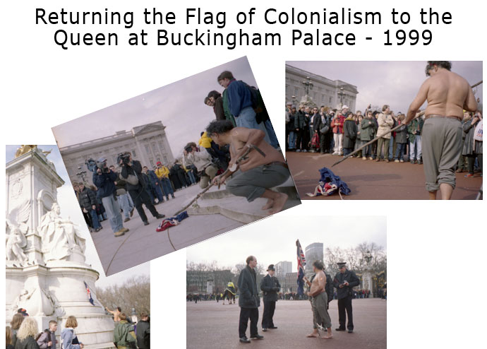 Returning the Flag of Colonialism to the Queen at Buckingham Palace in 1999